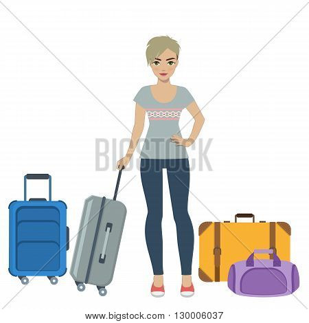 Girl with baggage, tourist at the airport. Vector.
