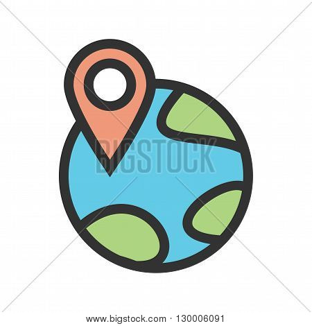 World, map, locate icon vector image. Can also be used for maps navigation. Suitable for mobile apps, web apps and print media.