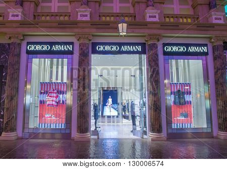 LAS VEGAS - APRIL 13 : Exterior of an Armani store in Caesars Palace hotel in Las Vegas on April 13 2016. Armani is an Italian luxury fashion house founded by Giorgio Armani.