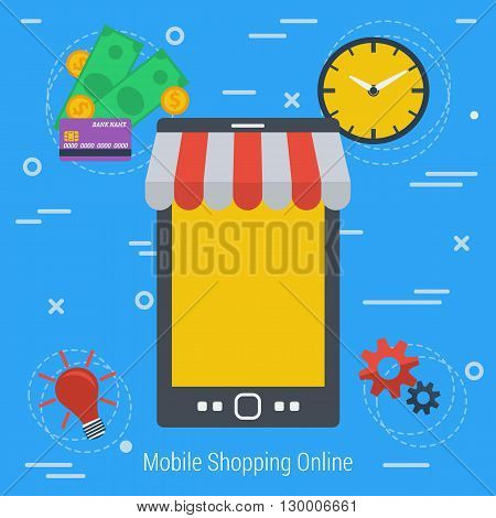 Vector Concept Mobile online market. Easy methods shopping online. Infographics of online shopping. Mobile market. Fast, convenient and safe using e-commerce. Flat style. Web infographics
