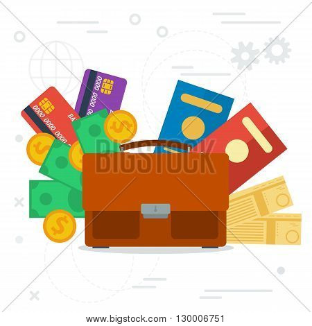 Vector concept business trip. Travel and tourism concept. Air tickets, passports, money and credit cards. Trip planning in flat style