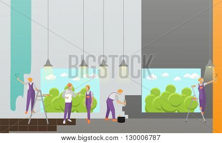 Home interior and room repair vector banner. Workers make renovation in apartment. Building under construction.