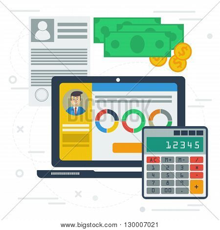 Vector accounting flat illustration with computer app on desktop. Concept of accounting services, budget planning, tax servise. Laptop monitor, money, calculator, documentation, graphics