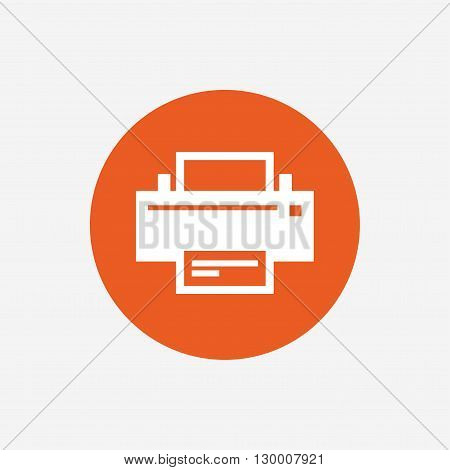 Print sign icon. Printing symbol. Print button. Orange circle button with icon. Vector