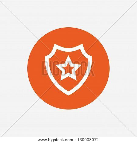 Shield with star icon. Favorite protection symbol. Orange circle button with icon. Vector