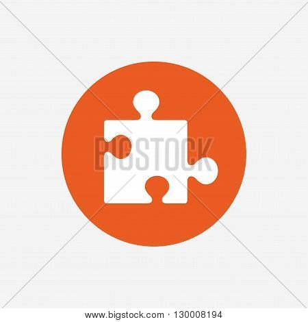Puzzle piece sign icon. Strategy symbol. Orange circle button with icon. Vector
