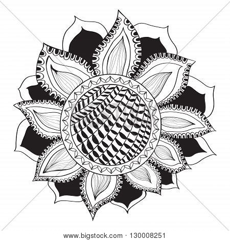 Sunflower in doodle style. Coloring page - sunflower design for meditation for adults vector illustration isolated on a white background. Zen doodles.