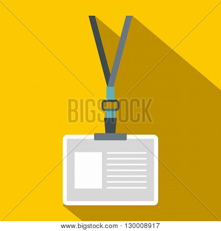 Plastic id card with clasp and lanyards icon in flat style on yellow background