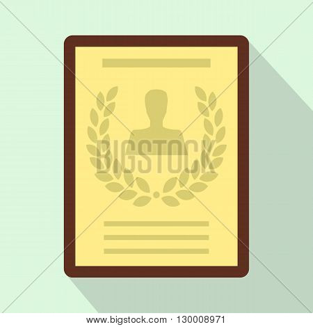 Certificate, diploma, charter icon in flat style on light blue background