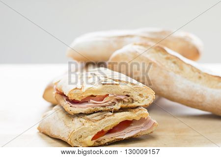 Cheese and Ham Toasted Sandwich on White Bread