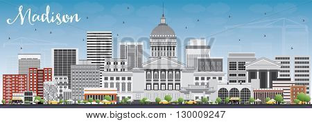 Madison Skyline with Gray Buildings and Blue Sky. Vector Illustration. Business Travel and Tourism Concept with Modern Buildings. Image for Presentation Banner Placard and Web Site.