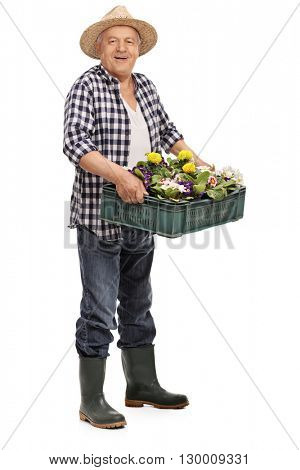Full length portrait of a mature gardener holding glowers and looking at the camera isolated on white background