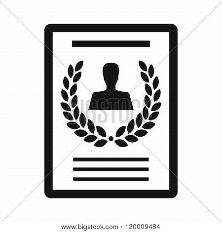 Certificate, diploma, charter icon in simple style isolated on white background