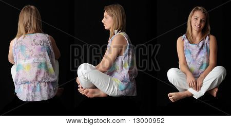 Young beautiful woman sitting against black background - front, side and back shoot