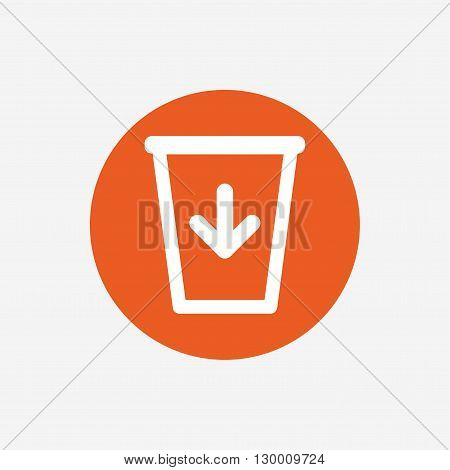 Send to the trash icon. Recycle bin sign. Orange circle button with icon. Vector