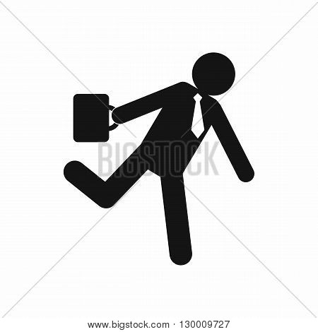 Running clerk icon in simple style isolated on white background. Businessman late to work