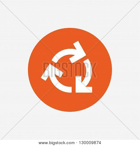 Recycling sign icon. Reuse or reduce symbol.. Orange circle button with icon. Vector