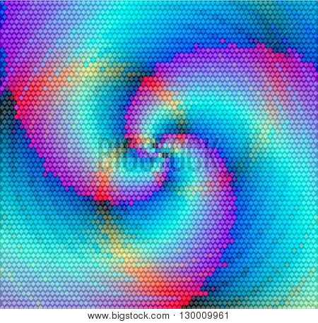 Abstract lighting swirling blue and pink pattern of mosaic cubes with golden rays converging to one point