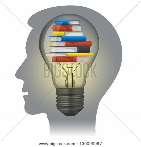 Stylized male Head silhouette with light bulb. Vector available..