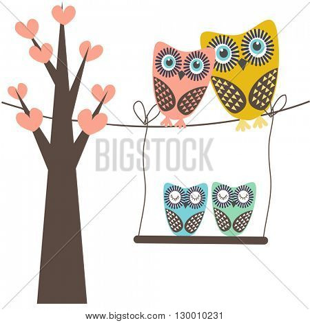 Cute vector illustration of an owl family sitting in the tree