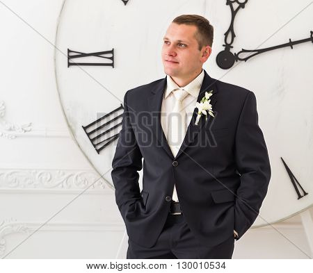 young man waiting woman. Groom waiting bride. Just married.