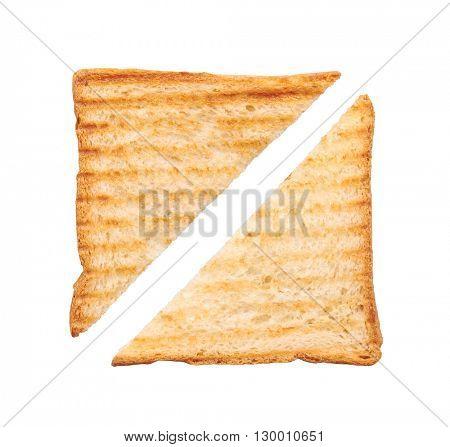 Toast isolated on white background