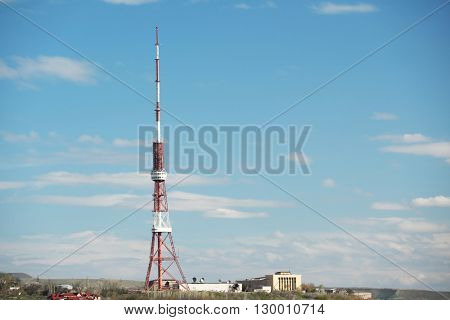 City view of Yerevan with antenna tower