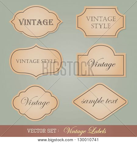 Set of vintage labels, brown paper labels in vintage style.