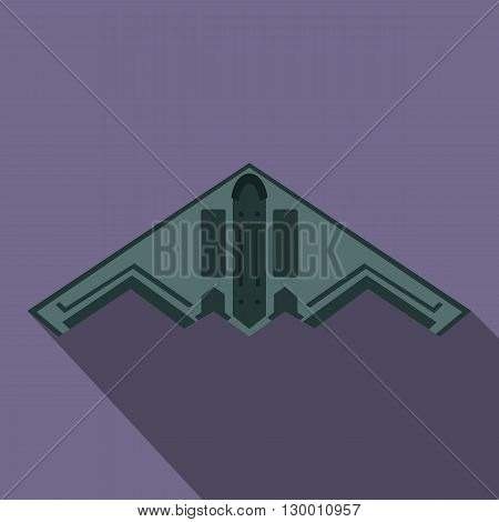 Stealth bomber icon in flat style on a violet background