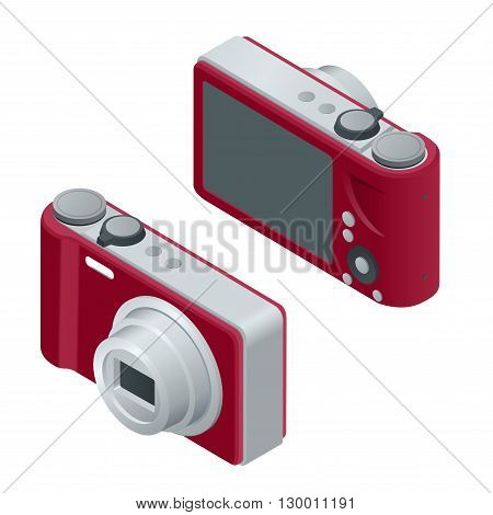 Digital photo camera. SLR camera.  The objects are isolated against the white background and shown from different sides. Flat 3d vector isometric illustration