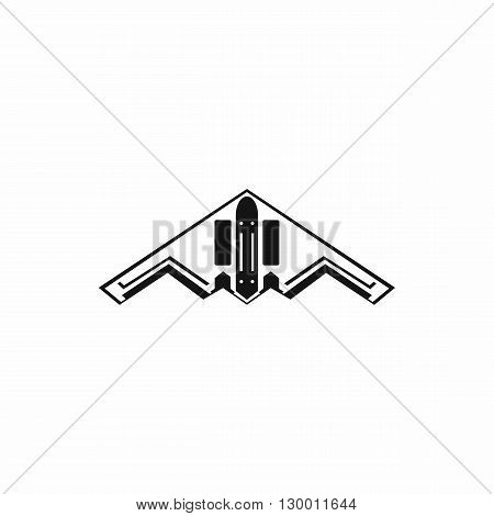 Stealth bomber icon in simple style on a white background
