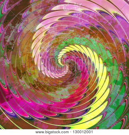 Abstract dynamic peeling background of rotating red, green, yellow and pink spirals