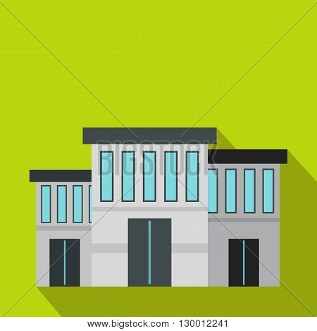 Police building icon in flat style on a green background