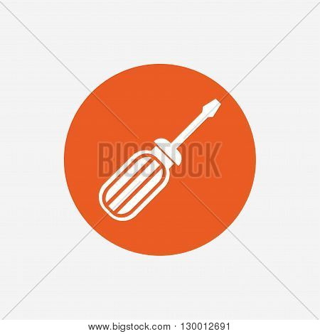Screwdriver tool sign icon. Fix it symbol. Repair sign. Orange circle button with icon. Vector