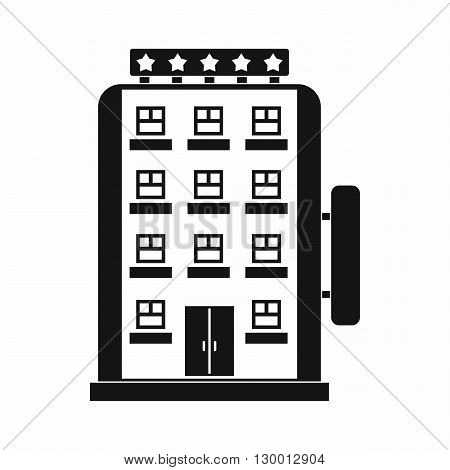 Hotel building icon in simple style on a white background