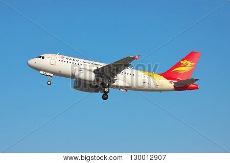 Simferopol Ukraine - September 12 2010: Capital Airlines Airbus A319 is taking off from the airport into the blue sky in the evening