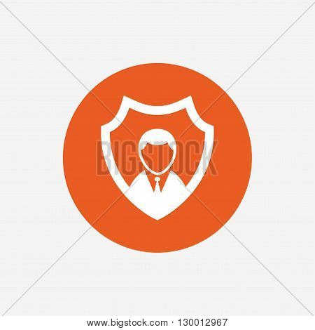 Security agency sign icon. Shield protection symbol. Orange circle button with icon. Vector