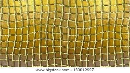 Gold grunge background with gold deformed 3d metal grid