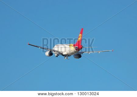 Simferopol Ukraine - September 12 2010: Capital Airlines Airbus A319 is taking off from the airport while its gear is being retracted