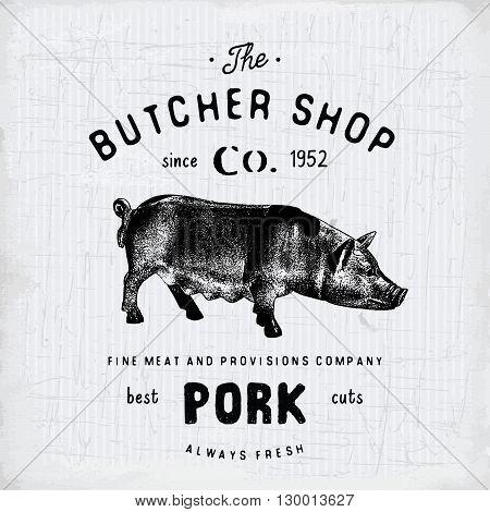 Butcher Shop Vintage Emblem Pork Meat Products, Butchery Logo Template Retro Style. Vintage Design F