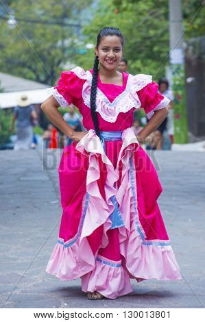 PANCHIMALCO EL SALVADOR - MAY 08 : Salvadoran dancer perform during the Flower & Palm Festival in Panchimalco El Salvador on May 08 2016