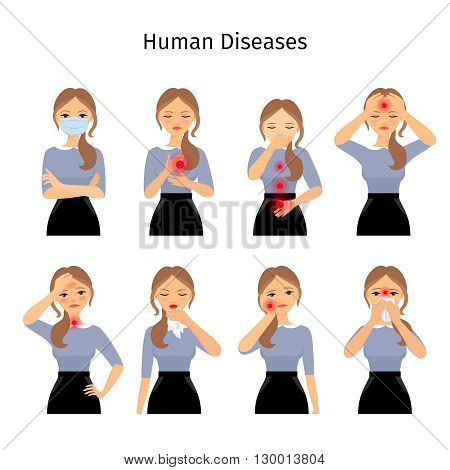 Sick woman. Young woman with different types of pains and diseases. Vector illustration