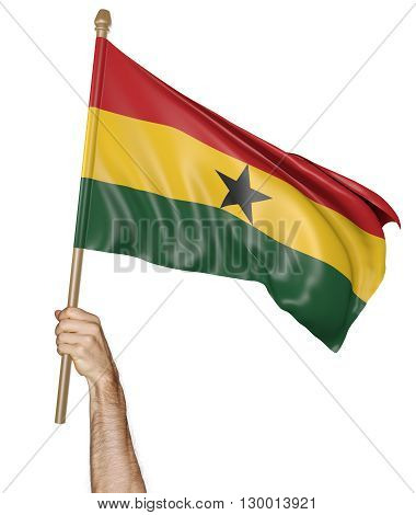 Hand proudly waving the national flag of Ghana, 3D rendering
