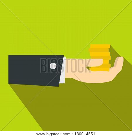 Hand giving money icon in flat style on a green background