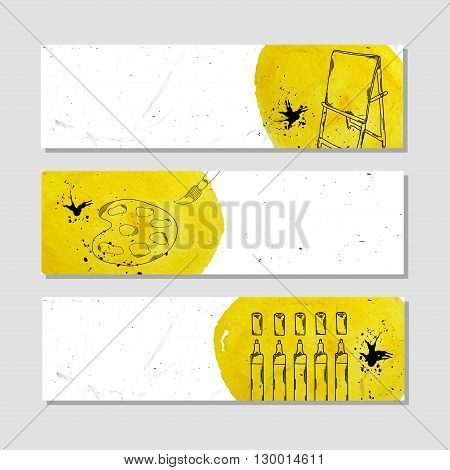 Banners for advertising professional accessories for the artist. Vector