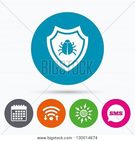 Wifi, Sms and calendar icons. Shield sign icon. Virus protection symbol. Bug symbol. Go to web globe.