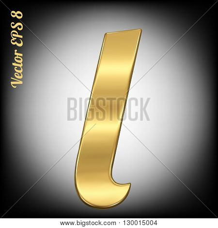 Vector letter l from gold solid alphabet. Eps 8 using mesh.