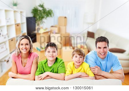 Happy family at home.