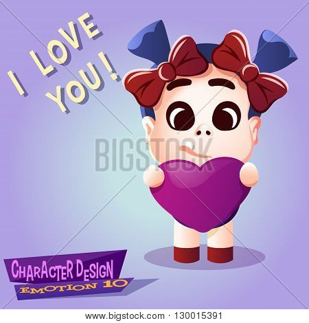 Love emotion little kid vector. Little girl with big heart give love isolated illustration