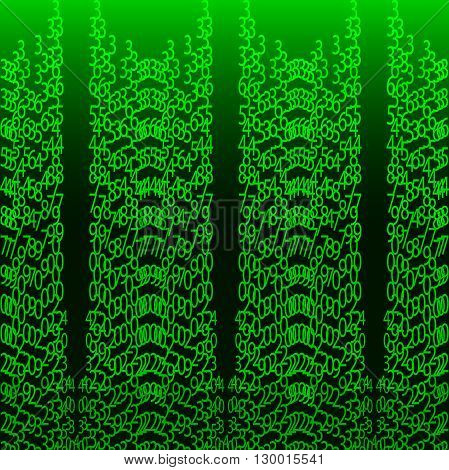 Matrix concept Abstract technology background. Programming coding hacker concept. Binary computer code. Vector background illustration on green background